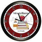 TEACHER WALL CLOCK PERSONALIZED GIFT QUIET SWEEP MOTOR CLASSROOM APPLE BOOK