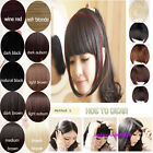 USA FRINGE REALISTIC CLIP IN HAIR EXTENSIONS BANG STRAIGHT BLACK BROWN BLONDE