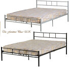 "DEVON  METAL DOUBLE BED FRAME IN SILVER OR BLACK DOUBLE  4'6"" 135CM"