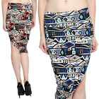 TheMogan Multi-Color Geo Print Asymmetric Pencil Skirt Stretch Fitted High Waist