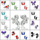 Butterfly Ear Stud Earrings CZ Crystal & Rhinestone Silver Plated Valentines Day