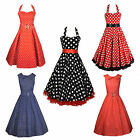 Vintage, Retro Polka Dot Swing Dress, Red, Blue Black Rockabilly Dress