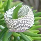 Men & women's 925 Sterling Silver Hallmarked Mesh 10mm Band Ring ALL size 3 -11