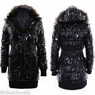 Womens Fur Hooded Coat Ladies Puffer Quilted Puffer Padded Warm  Winter Jacket