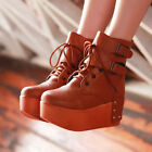 Womens High PlatForm Faux Leather Buckle Lace Up Spring Casual Shoes Ankle Boots