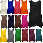 Ladies Plain Ruched Basic Womens Sleeveless Baggy Swing Flared Dress Long Top