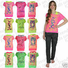 Girls Lace Vest Top T Shirt NEON Kids PARIS Design Last Ones * Bargain Price *