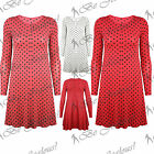 Ladies Polka Dots Stretchy Round Neck Womens Long Sleeves Swing Dress Long Top