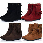 Womens Faux Suede Fringe Tassel Moccasin Shoes Lace up Ankle Boots EU Size 34-41