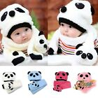 Girl Boy Winter Baby Toddler Warm Cute Panda Hat Cap Beanie Scarf Set PI