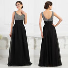 Womens Sequins Chiffon Formal Evening Long Dress Black Red Maxi Prom Dresses NEW