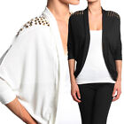 TheMogan Studded Shoulder Cocoon Open Front Cardigan