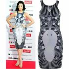 Womens Bodycon Mini Dress Celeb Katy Perry Peacock Print Party Short Skirt Top