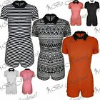 Ladies Collar Short Sleeves Plain Aztec Stripes Playsuit Womens All in One Dress