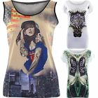 Womens Butterfly USA Flag Print Top Ladies Pin Up Girl Leopard Sequin Party Vest