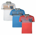 Conspiracy Mens Cotton Polo Jersey Top T-Shirt Nordic Pattern Blue Red White New