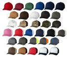 FLEXFIT FITTED MESH BACK TRUCKER CAP BASEBALL HAT PLAIN 6511FF CURVED FLEX FIT