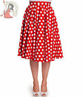 HELL BUNNY 50's MARIAM POLKA DOT jive SKIRT swing RED