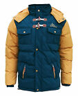 Soul Star Differ Mens Two Tone Padded Hooded Puffer Parka Jacket Coat blue 2064