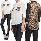 TheMogan Leopard Print Panel Button Down Sheer Shirt Blouse