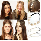 Punk BOHO Crown Spike Athena Chain Headband Headdress Elastic Hair Cuff Headwrap