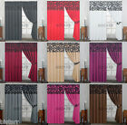 PAIR OF FULLY LINED DAMASK FLOCKED CURTAINS, TIE BACKS, PENCIL PLEAT, READY MADE