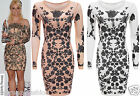 New Womens Celebrity Inspired Long Sleeve Floral Mesh Bodycon Dress Peach White