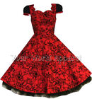 H&R RED FLOCKED NAUTICAL PINUP SWING 50's HOUSEWIFE DRESS VINTAGE ROCKABILLY 135