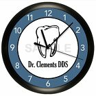 DENTIST WALL CLOCK PERSONALIZED OFFICE DECOR ROOM ART GIFT DENTAL TOOTH