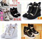 WOMENS LADIES GIRLS LEATHER Sneaker WEDGE HEEL BOOTS TRAINERS SHOES HIGH TOPS 46