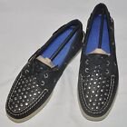 SPERRY TOP-SIDER A/O 2-Eye Black Leather Studs Boat Shoes Size 8M or 10M NEW!