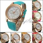 Fashion Lady Girl Women PU Leather Band Three Time Zone Sport Quartz Wrist Watch