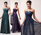 Classy Strapless Ball Gown Evening Prom Formal Party Bridesmaid Dresses 3 Color