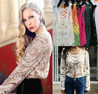 Hot  Sexy Lace Crochet Sheer Sleeve Embroidery Flower T-shirt Blouse Vest Tops