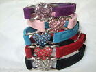Cat Collar Diamante rhinestone crystal Bling safety elastic Velvet heart kitten