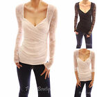 V Neck Sweetheart Overlay Floral Lace Long Sleeve Stretch Blouse Top