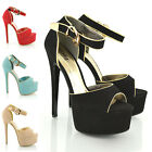WOMENS HIGH HEEL PLATFORM STRAPPY LADIES STILETTO PEEP TOE PARTY SHOES SIZE 3-8