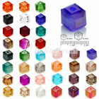 100pcs DIY Square Crystal Loose Spacer Beads Cube 6mm fit Fashion Jewelry Making