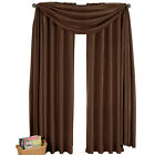 Chocolate Soho Rod Pocket Window Panel, Complete Modern Look With Matching Scarf