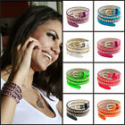 Pugster Hot Rivet Studded Stainless Steel Multi-layer Leather Bracelet Wrap Cuff
