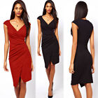 Women Celeb Rockabilly Bodycon V Neck Skirt Clubwear Business Work Sheaft Dress