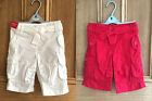 EX ADAMS NEW RED WHITE CROPPED CARGO SHORTS TROUSERS UK 2 - 5 YEARS BNWOT