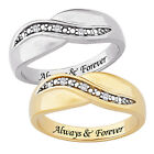 Sterling Silver or 14k Gold over Silver Always & Forever Engraved Diamond Ring