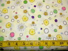 FLOWERS - DAISIES AND CIRCLES AND FLOWERS ON YELLOW  PATCHWORK COTTON FABRIC