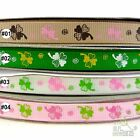 "3/8"" 9mm Mixed Four Leaf Clover Grosgrain Ribbon 5 Yards Craft Sewing DIY"
