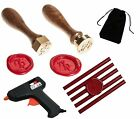 Custom Initial Brass Wax Seals Stamp - Melting Gun & 5 Sticks of Red Sealing Wax