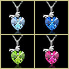 Women Jewelry Clear Crystal Heart Silver Plated Chain Love Pendant Necklace Hot