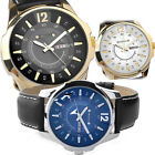 4 Styles Casual 44mm Men's Classic Leather Date-Day Quartz Wrist Watch