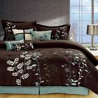 Внешний вид - 7 Pcs Embroidered Microfiber Comforter Set Brown Sage Teal twin-cal king