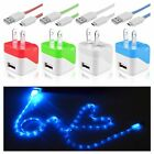 Visible LED Light Micro USB Cable+Travel Charger for HTC Samsung Galaxy S4 S3